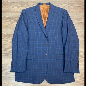 Joseph Jos A Bank Blue Plaid Slim Sport Coat 43L